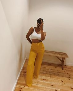 "6,187 Likes, 58 Comments - Simone (@cocoaflowerr) on Instagram: ""Mustard yellow szn. Once I get them shortened, issa wrap."""
