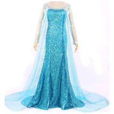 Women Adult Turquoise Frozen Elsa Halloween Cosplay Fairytale Costume (491.270 IDR) ❤ liked on Polyvore