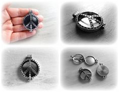 Large Peace Sign Diffuser Locket Pendant by KilnFiredDiffusers