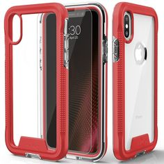 iPhone X Case - Zizo [ION Series] with FREE [iPhone X Screen Protector] Transparent Clear [Military Grade Drop Tested] (Red/Clear)