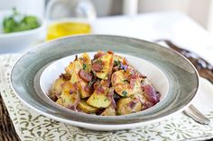 Warm Roasted Baby Potato Salad with Crispy Bacon Caramelized Red Onions and Warm Bacon Vinaigrette