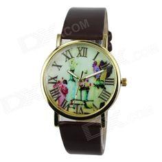 Womens Fashion Flowers & Vases Pattern PU Band Analog Quartz Watch - Brown (1 x 377)