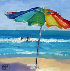 Debbie Miller Painting: Lifes a Beach - daily painting beach scene - Maritim - Beach Umbrella Painting, Umbrella Art, Beach Umbrella, Arte Pop, Oeuvre D'art, Painting Inspiration, Painting & Drawing, Beach Drawing, Painting Doors