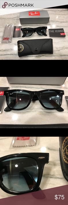 ☀️ New Authentic Ray Ban Wayfarer Sunglasses ☀️ ⭐️Authentic Ray-Ban Classic ⭐️Never Used, Brand New Condition ⭐️Size: Standard 50mm ⭐️Frame Color: Black ⭐️Comes with all original paperwork and packaging !  ⭐️Same Business Day Shipping ! 🌟Feel free to ask any questions ! 😄 Ray-Ban Accessories Sunglasses