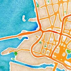 type in a location, and it generates a map in watercolor that you can print and frame!