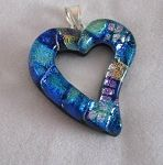 Dichroic Glass Pendant Heart-Shaped Cut-Out in sparkling aqua and blue.  Just $27.99 at dichroicadventures.com!