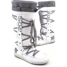 REPLAY REBELLION WHITE - Stiefel Weiss/Grau - Snowboots/Moonboots |... ❤ liked on Polyvore