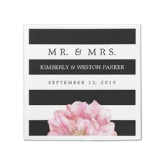 Floral Chic Personalized Wedding Napkins