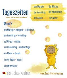 Tageszeiten Deutsch Wortschatz Grammatik German Alemán DAF Vocabulario