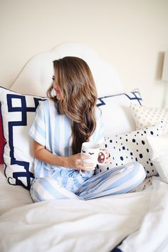 striped blue and white PJs - and how to become a morning person!