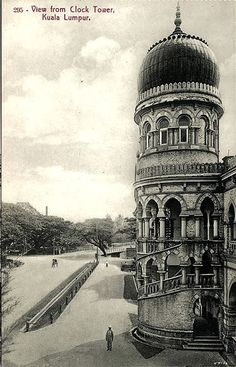 View from the clock tower of Sultan Abdul Samad Building looking towards the north Straits Settlements, Kuala Lumpur City, Horse And Buggy, Original Image, Old Photos, Big Ben, Taj Mahal, Castle, Tower