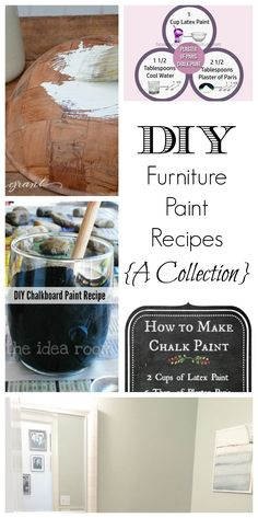 Recipes for your own paint- who knew?! Brilliant ideas- This site also has hundreds of other tutorials and tips on painting anything in or outside of your home!  A must REPIN for DIYers