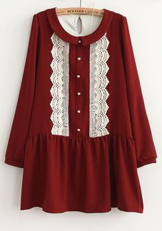 Red Buttons Embroidery Peter Pan Collar Cotton Dress