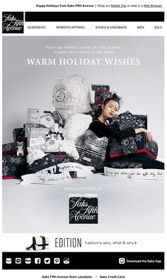 Saks Fifth Avenue holiday email 2013
