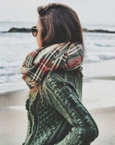 Plaid and cable knit