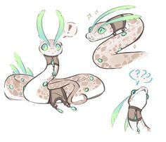 I freaking love this style and OC creature design Mythical Creatures Art, Cute Creatures, Cute Fantasy Creatures, Cute Animal Drawings, Cute Drawings, Wolf Drawings, Cute Snake, Creature Drawings, Character Design Inspiration