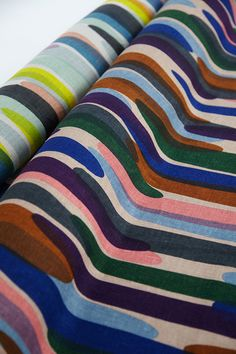 Stripe print, hand painted-play with the tube line colours :waterfall 大 ファブリック | minä perhonen