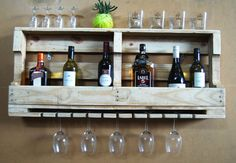 Wall bar with glass rack