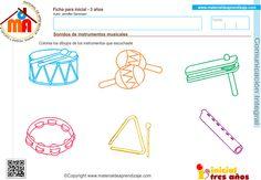 Colorea los dibujos de los instrumentos que escuchaste. Ficha de comunicación integral para educación infantil 3 años: Sonidos de instrumentos musicales