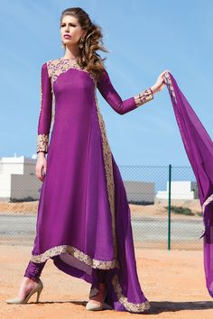 Purple anarkali salwar kameez online from hdbazaar
