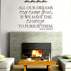 Vinyl Inspirational Wall Decal Motivational Wall Quote Walt Disney Saying Lettering Words Home Art Decor All Our Dreams Can Come True Black >>> Find out more about the great product at the image link. Inspirational Wall Quotes, Vinyl Wall Quotes, Motivational, Wall Stickers Murals, Vinyl Wall Decals, Vinyl Room, Learn To Dance, Dream Wall, Dancing In The Rain