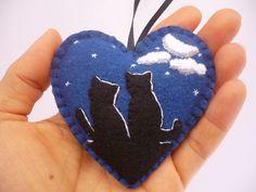 Cats Ornament Blue Felt Heart Ornament by ynelcas on Etsy