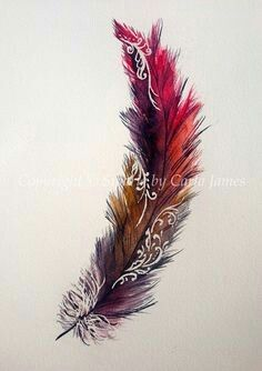 Feather design with henna patterns print by Siparia on Etsy Feather Art, Feather Design, Feather Tattoos, Foot Tattoos, Body Art Tattoos, New Tattoos, Tattoos For Guys, Watercolor Feather, Bird Tattoos