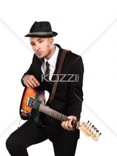 thoughtful business man with guitar. - Thoughtful business man with guitar over white background, Model: Kareem Duhaney