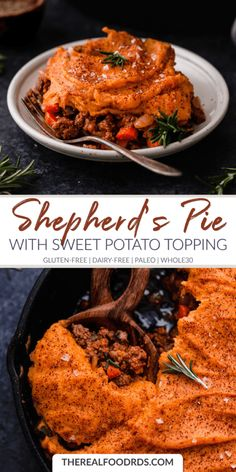 Shepherd's Pie With Sweet Potato Topping Hearty, Comfort Food At Its Finest. Shepherds Pie With Sweet Potato Topping Is A Family-Pleasing, Meal Prep Friendly And An Incredibly Tasty Recipe. The Real Food Dietitians Whole 30 Recipes, Real Food Recipes, Cooking Recipes, Healthy Recipes, Paleo Food, Healthy Food, Yummy Food, Drink Recipes, Meat Recipes