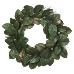 This artificial magnolia leaf wreath is easily customizable by adding your choice of lights, ornaments, pinecones and more! You can also spray paint it.