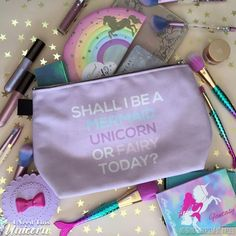 What will you be today? A fairy, unicorn or mermaid? You can be whatever you want as long as you take your essentials with you in this cute makeup bag! Stuff all of your essentials in this cute pouch! You can pack your full sized products and organize them using the center pockets! Take this with you on your trip! Cute Makeup Bags, Gold Backpacks, Presents For Women, Unicorn Party, Mythical Creatures, Makeup Inspiration, Artwork Prints, Cosmetic Bag, Vegan Leather