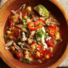 Slow-Cooked Beef Pozole - Before you leave the house in the morning, toss the ingredients into a slow cooker, set the timer, then come home to a bubbling bowl of steamy, hot beef pozole, a traditional Mexican stew that's healthy, too.