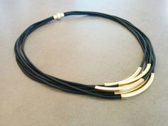 Leather Necklace, Gold Tubes Necklace for sale Gold Choker Necklace, Necklace Price, Black Necklace, Leather Necklace, Leather Jewelry, Leather Cord, Necklace Lengths, Jewelry Necklaces, Etsy Jewelry
