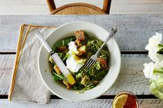 Spring Vegetable Panzanella with Poached Eggs recipe: The salad of comfort foods. #food52