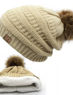 Cheap pom pom winter hat, Buy Quality winter hats for women directly from China winter hat Suppliers: 2017 hot Double layer fur ball cap pom poms winter hat for women girls hat knitted beanies cap thick female cap Cute Winter Hats, Winter Hats For Women, Cute Hats, Winter Caps, Fur Bobble Hat, Knit Beanie, Beanie Hats, Cc Beanie, Pom Poms