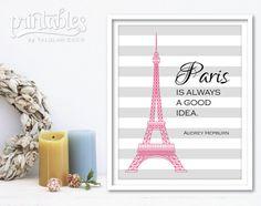 Audrey Hepburn citar, para imprimir cartel de película, París es siempre una buena Idea de arte, impresión del Torre de Eiffel, gris rayas Home Decor, descarga instantánea