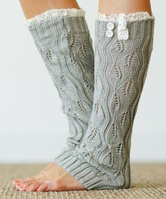 Gray Lace Leg Warmers | COZY