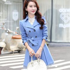 b35e77277b447 Women Trench Coat 2017 Korean Plus Size Lace Slim Double-Breasted Trench  Coats Women Winter