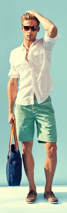 Perfect summer outfit: you can't go wrong with a simple white linen shirt, shades and mint (!!) green chino shorts. #mensfashion