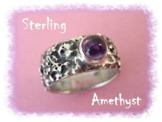 Amethyst Celestial Moonscape ~ Sterling Silver Artist Band Ring - Sedona Goldsmith - FREE SHIPPING IN USA
