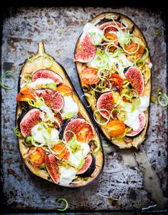 baked aubergine with mozzarella and figs.