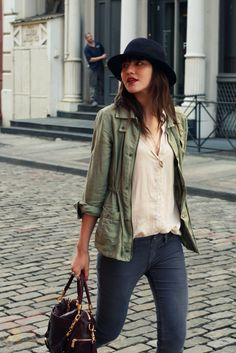 Army green jacket with blouse.
