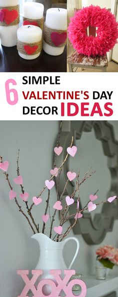 A great way to add a little extra love to your home! The post 6 Simple Valentine's Day Decor Ideas. A great way to add a little extra love… appeared first on 99 Decor . Valentine Day Love, Valentines Day Party, Valentines Day Decorations, Valentine Day Crafts, Holiday Crafts, Valentines Day Brunch Ideas, Valentines Day Decor Rustic, Printable Valentine, Homemade Valentines