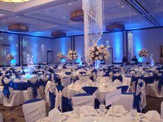Reception, Flowers U0026 Decor, White, Blue, Silver, Flowers, Linda Smith