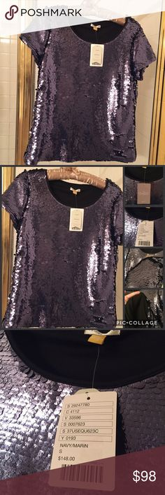 Anthropologie sequins top Fully lined, great sequins allover, new with tag Anthropologie Tops