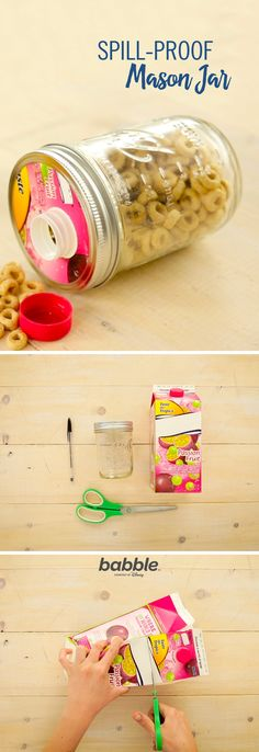 Keep the little ones happy and your car floor clean with this simple road trip hack! All you need is a mason jar and an empty juice carton to make this mess-free craft. Click for a tutorial for the DIY Spill-Proof Mason Jar.