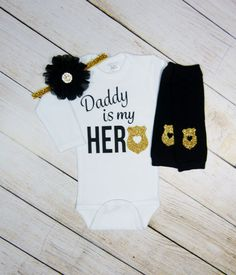517cac1b3 Police Baby Girl Clothes Outfit Police Dad Wife Gift Black Gold Headband  Leg Warmers Gold Newborn Take Home Outfit Daddy Is My Hero or Mommy