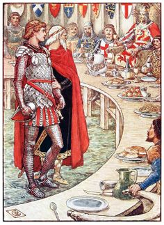 Sir Galahad is brought to the court of King Arthur. Walter Crane, from King Arthur's knights, retold by Henry Gilbert, Edinburgh, London, 1911. (Source: archive.org)