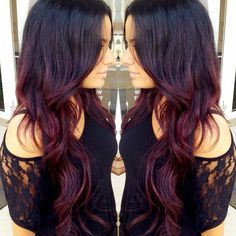 Dark brunette & burgundy ombre