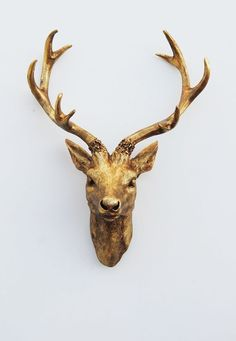 The Compton - Small Metallic Gold Faux deer Head by White Faux Taxidermy #WhiteFauxTaxidermy